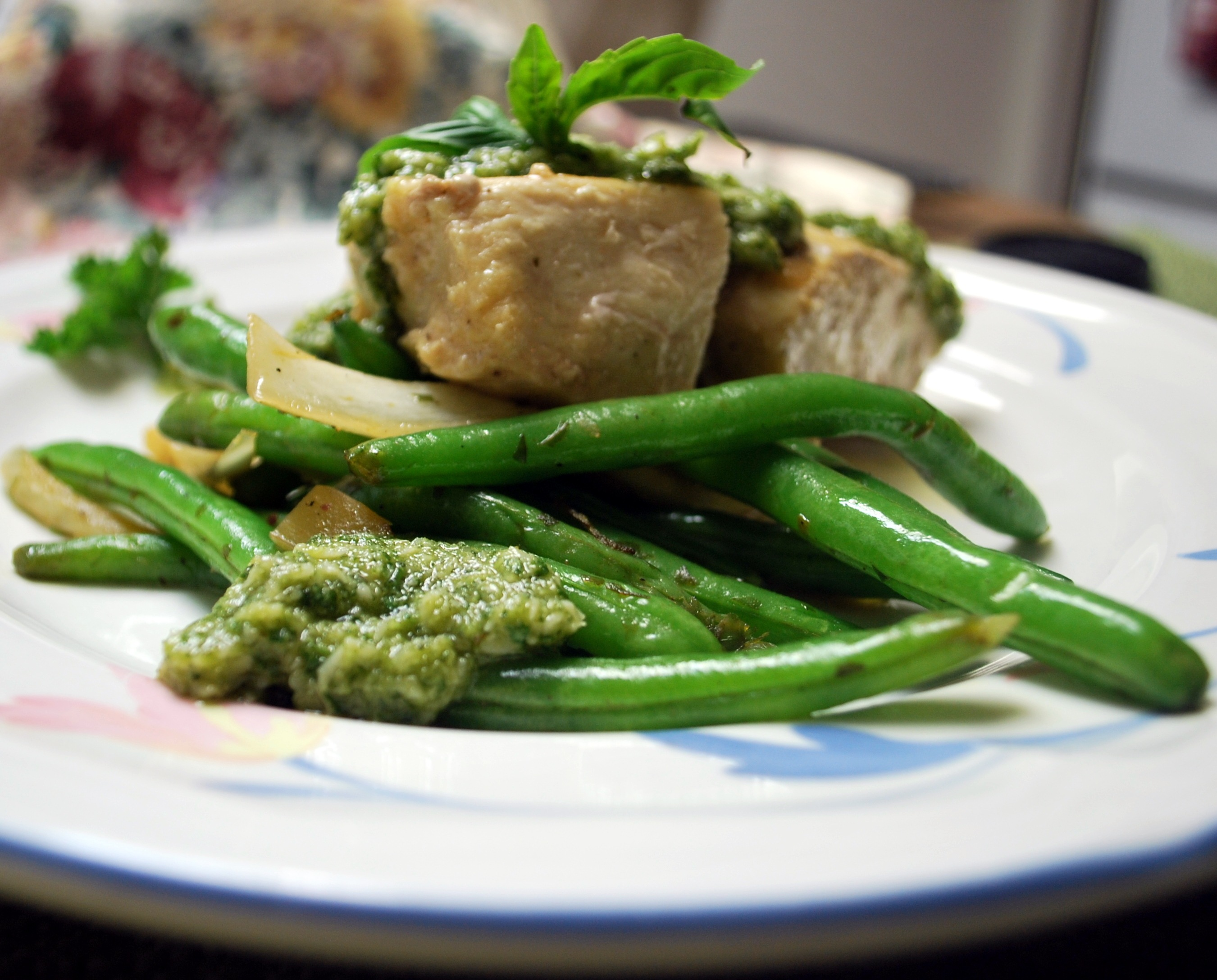 Basil and Pine Nut Pesto on Vegetables and Chicken