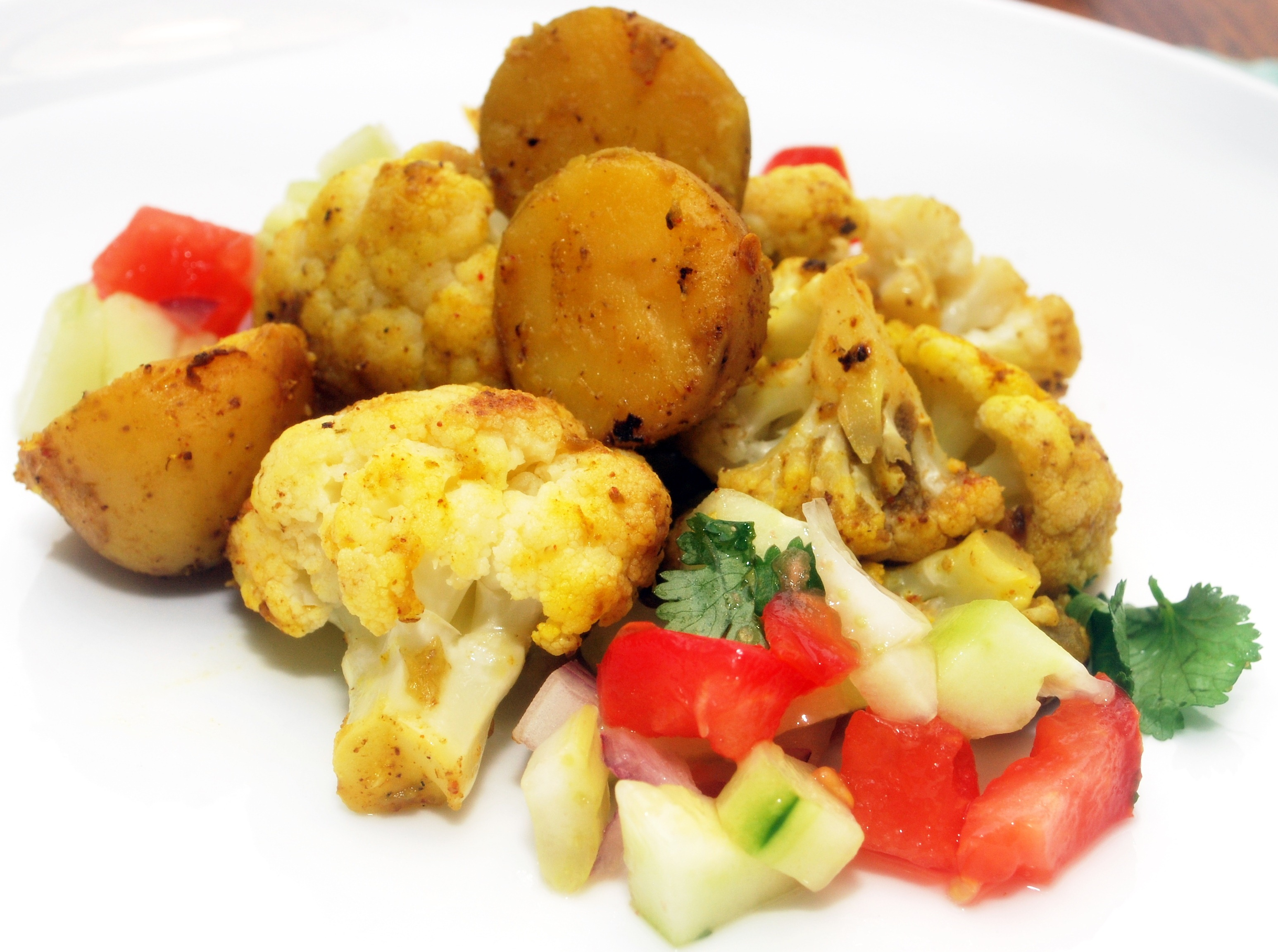 Indian Potato and Cauliflower Curry with Tomato Onion Salad