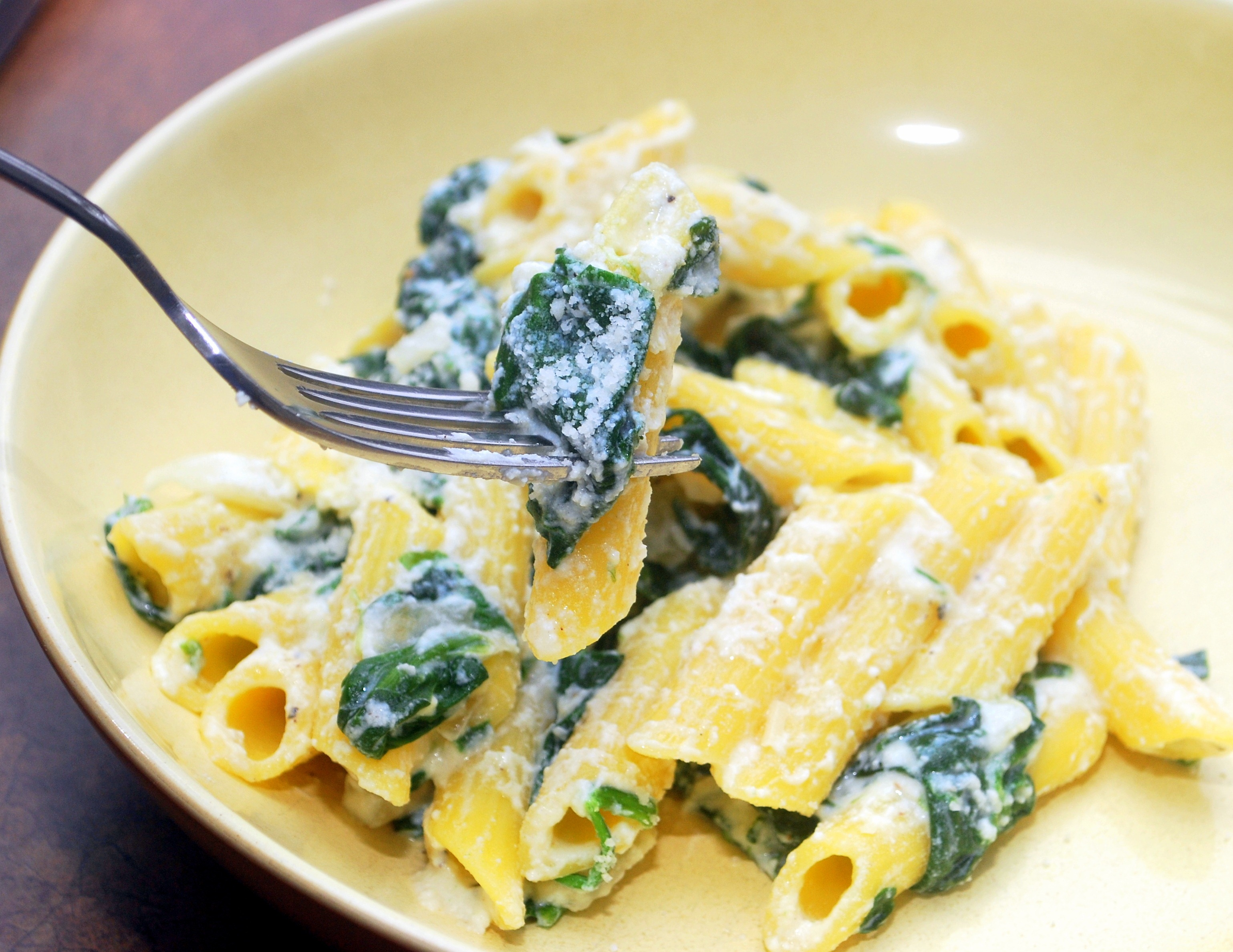 Penne With A Spinach-Ricotta Sauce