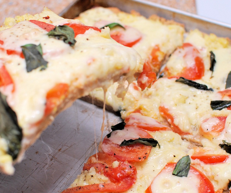 Grilled Pizza With Cheesy Corn, Fresh Tomatoes, And Basil ...