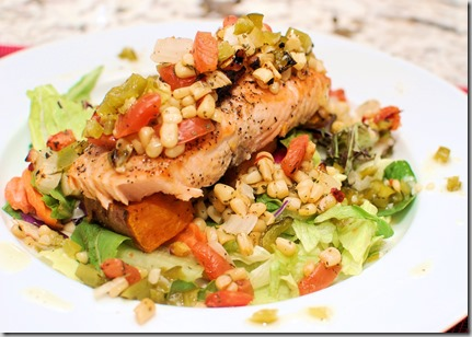Salmon with corn and pepper salsa green pepper sauce and potato2