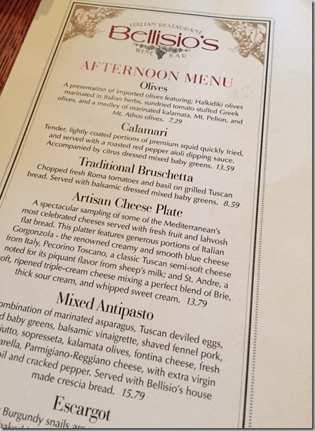 Bellisagios menu