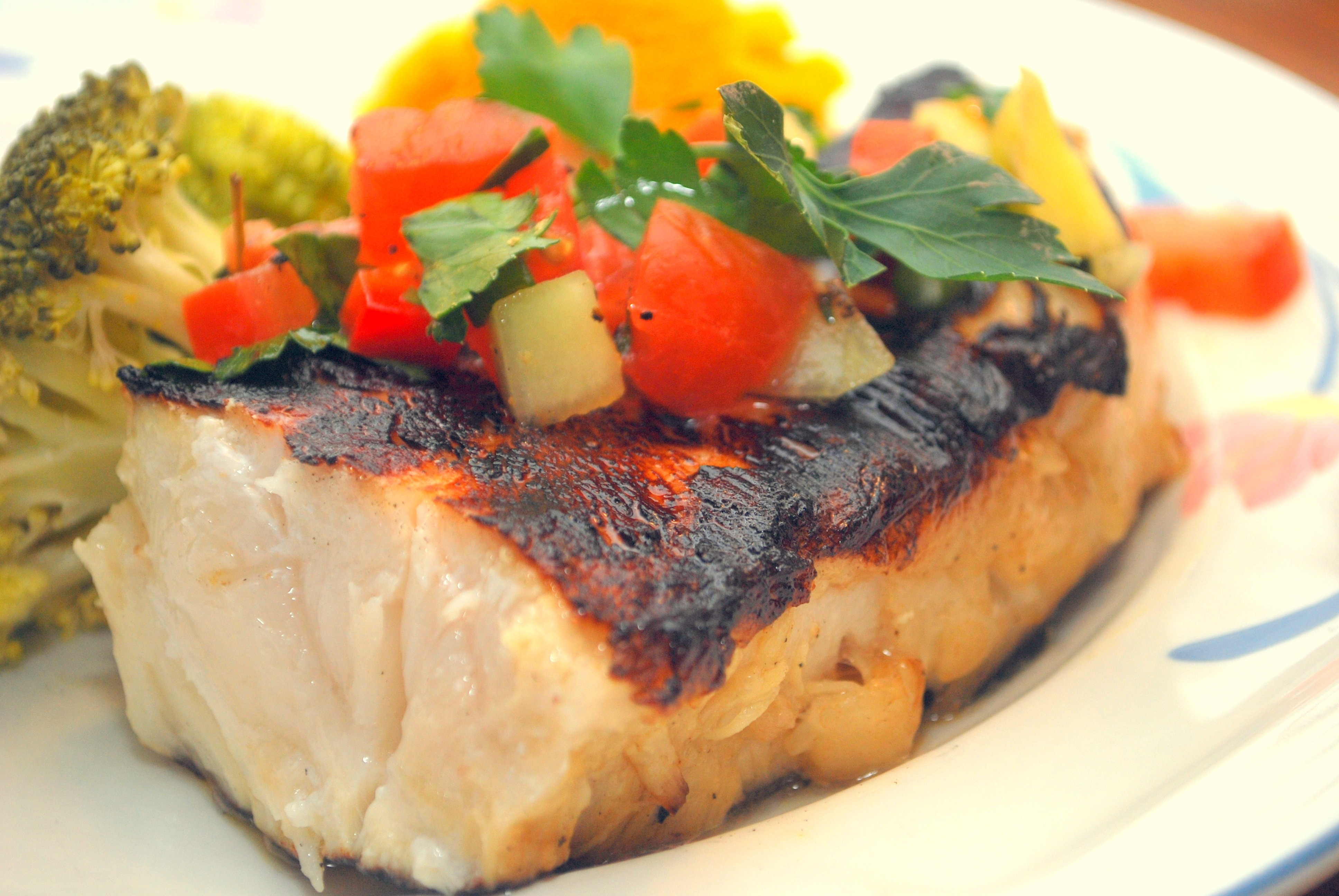 Grilled sea bass with fresh fruity relish for Bluesalt fish grill