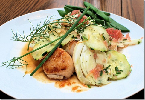 Seared Scallops with Shaved Fennel and Cucumber2