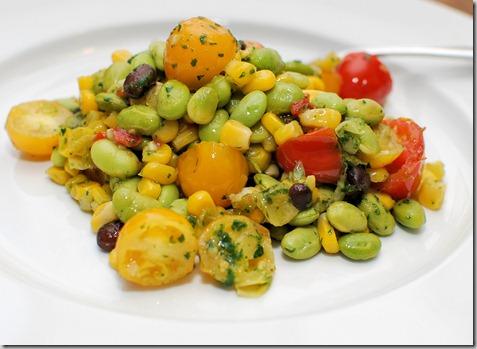 Skillet corn edamame and tomatoes1