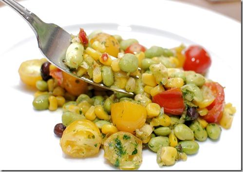 Skillet corn edamame and tomatoes2