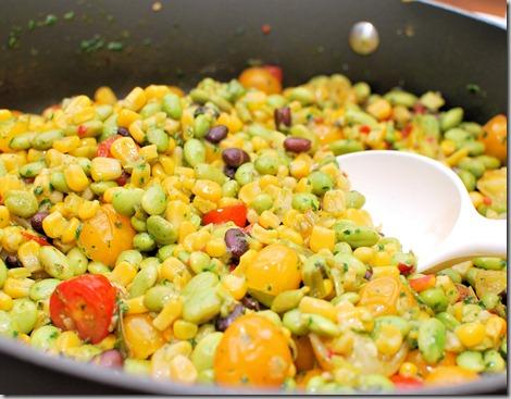Skillet corn edamame and tomatoes3