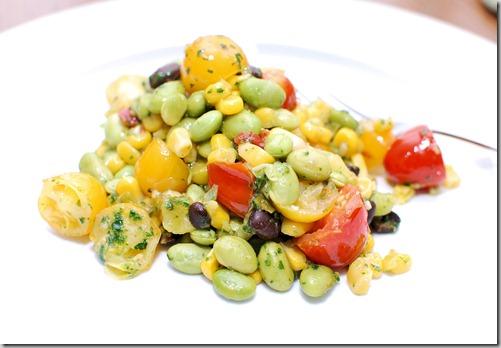 Skillet corn edamame and tomatoes4