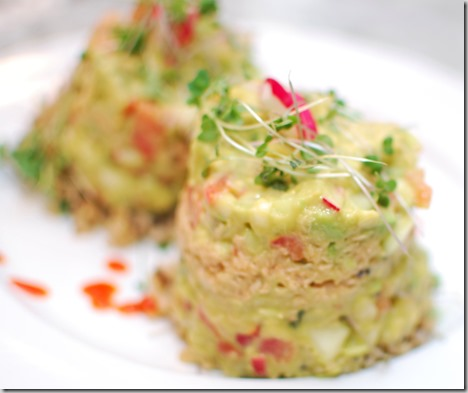 Tuna Tower with Micro Greens and Guacamole2