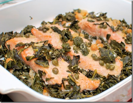 Slow cooked Salmon with chickpeas and greens1