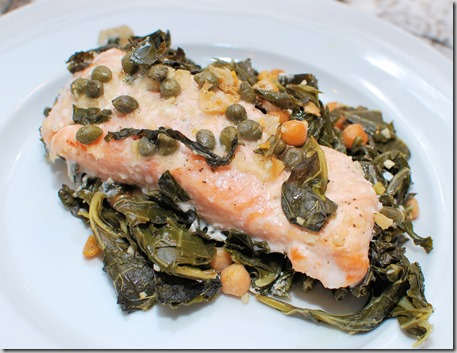 Slow cooked Salmon with chickpeas and greens2