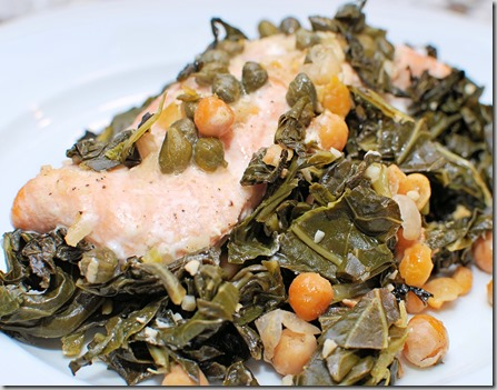 Slow cooked Salmon with chickpeas and greens3