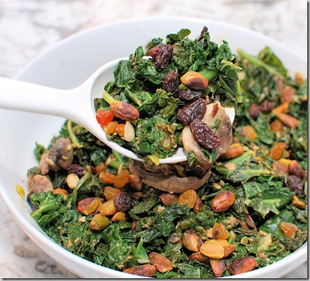 Warm kale Salad with Hummus and Pistachios3