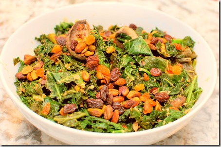 Warm kale Salad with Hummus and Pistachios4