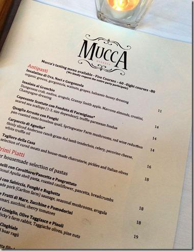 Mucca menu
