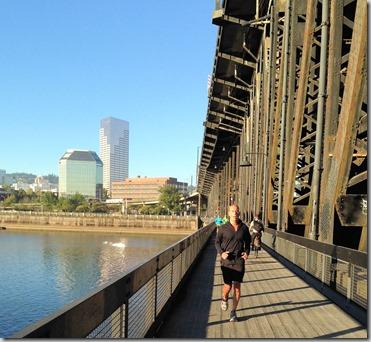 ted running on bridge