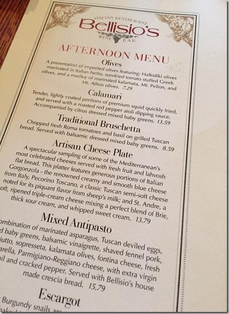 Bellisagios menu