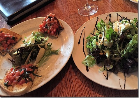 Brucshetta and mixed green salad